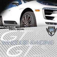 LEFT+RIGHT SIDEBLADE BODY REFLECTIVE VINYL STICKER KIT FOR PORSCHE GTS LOGO WHIT
