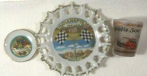 Lot 4 Indy 500 Laced Edge Decorative Plate Mini Dish Shot Glass Tray Indiana