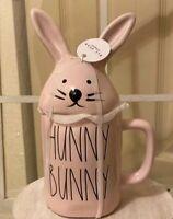 Rae Dunn by Magenta L/L 'HUNNY BUNNY Easter Bunny Head Pink Coffee Mug Rare VHTF