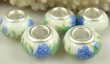 5pcs Silver MURANO Lampwork Beads Fit Charm DIY Bracelet Necklace wholesale a2m