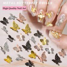 10/20Pcs New Nail Art 3D Gold/Silver/Black Alloy Metal Matte Butterfly DIY Decor