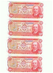 4 CONSECUTIVE NUMBERED Canada 1975 $50 Dollar Bills  VERY RARE COLLECTION #58