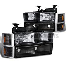 94-98 C10 CK Tahoe Suburban Silverado Pickup Black Headlights+Corner+Bumper Lamp