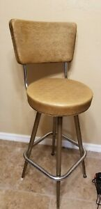 Vintage Mid Century Modern Swivel Atomic Chair Chrome Bar Stool Gold Color MCM