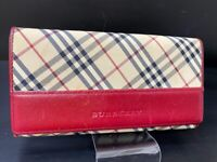 Authentic Burberry Nova Check Canvas Leather Long Bifold Wallet A-1199