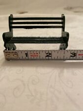 """Dept 56 Snow Village """"Green Slotted Back Wrought Iron Park Bench"""""""