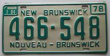 New Brunswick 1984 SUPERB QUALITY License Plate NATURAL # 466-548