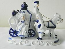 carriage two horses colonial figurine white & royal blue