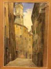 "Quadro, acquarello Guido Gennai "" Poggibonsi "" ( Siena ) 25 x 37  cv14/10/14"