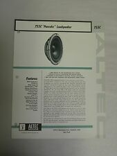 Vtg Original Altec 755C Pancake Loudspeaker Speaker Specification Sheet (A3)