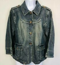Motto Womens Jean Jacket sz L Blue Denim Button Down Sand Blasted Western R2