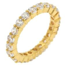 3.9 TCW .925 Yellow Gold Round CZ Stackable Eternity Wedding Band Ring Size 9