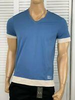 Armani Exchange Authentic Utility Logo V Neck T Shirt Blue NWT