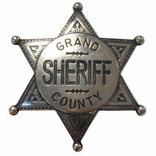 SILVER GRAND COUNTY SHERIFF POLICE BADGE WILD WEST US LAW ENFORCEMENT NEW/SEALED