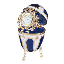 Faberge Jewish Egg / Trinket Jewel Box with Star of David & clock 4.1'' white