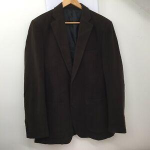 Zara Brown Cotton Double Vent Blazer Jacket Mens Size UK 40 Eur 50