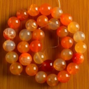 VD3388 12mm Red Dragon Veins Agate Ball Loose Beads 15''