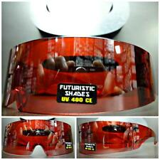 SPACE ROBOT PARTY COSTUME CYCLOPS FUTURISTIC WRAP SHIELD SUN GLASSES Red Frame