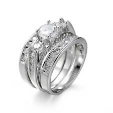 3 Pcs Exquisite White Sapphire Ring Set Crystal Zircon Wedding Band Size 6-10