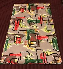 1950s  Mid Century Modern Googie Atomic Fabric Caravan Tiki Bark Cloth MCM HUGE