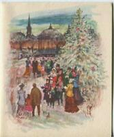 VINTAGE CHRISTMAS WHITE TREE TOWN GAZEBO CAROLERS VILLAGE GREETING & SANTA CARD