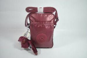 New With Tag Kipling TALLY Mini Crossbody Phone Bag KI0272- Dark Maroon Metallic