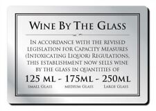 Wine by the Glass 125/175/250ml Law Sign Pub Bar Alcohol Licensing Notice