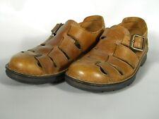 Rockport Sandals 10 M Fisherman Close Toe Brown Pebble Grain Leather EUC 625192