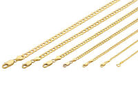"10K Yellow Gold 2MM-7MM Curb Cuban Chain Link Pendant Necklace Bracelet, 7""-30"""