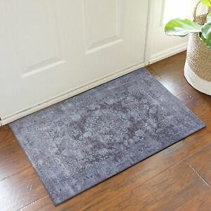 Grey Doormat Soft Allover Anti Slip Non Sheding Persian Beautiful Doormat 50x80