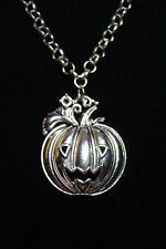Pumpkin Jack O Lantern Halloween Theme Pewter Pendant Rhodium Chain Necklace 18""