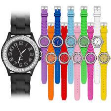 Silikon Damen Armbanduhr Kristall Bling Strass Trend Fashion Style Quartz Uhr
