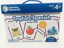 LEARNING RESOURCES 9313 English/Spanish Puzzle Cards 20 Double Sided Puzzles