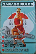 Garage rules Don't touch my tools! Retro sexy pin up girl metal plaque tin sign