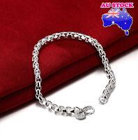 Classic 925 Sterling Silver Filled 4MM Polished Solid Charm Bracelet Bangle