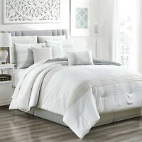 7 Piece Embossed Bedding, Microfiber Fabric Soft All Season Comforter Set(21567)