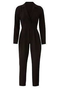 Slate & Willow Women's Jumpsuit Black US Size Small S Notched-Collar $58- #658