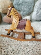"VTG Primitive Wood Toy Rocking Horse Small Hand Carved Rustic Painted 11"" X 9"""