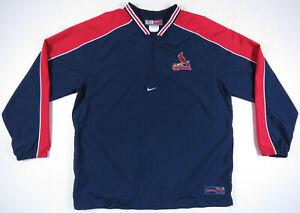 NWOT St. Louis Cardinals Nike 1/4 Zip Sewn Baseball Pullover Windbreaker Jacket