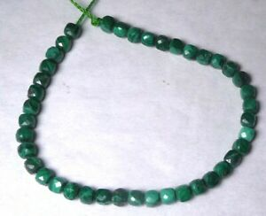 40 Beautiful Natural Faceted 4mm MALACHITE Cube Gemstone Beads