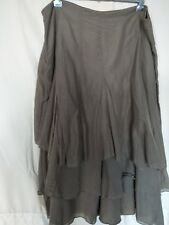 Brown Sugar khaki green-camel lined silk skirt 3 layers W  L  size 12 as new