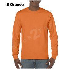 Gildan Cotton Long Sleeve T Shirt Mens Blank Casual Plain Tee Sport 5400