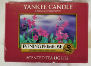 Yankee Candle EVENING PRIMROSE Box of 12 Scented Tealights Tea Light Red Floral