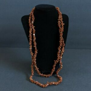"""Natural Sunstone Flat Nugget Chip Slices Freeform Fiery Orange Brown Beads 55"""""""