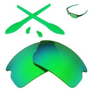 WL Polarized Emerald Lenses And Fluorescent Green Rubber Kit For Oakley Flak 2.0