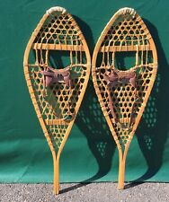 Vintage SNOWSHOES 42x14 LEATHER BINDINGS Snow Shoes GREAT