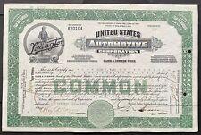 "UNITED STATES AUTOMOTIVE CORP. Stock 1921. Lexington, Kentucky. ""Minute Man"" VF+"