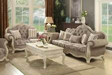 Old World Antique White Living Room Couch Set - Beige Fabric Sofa Loveseat IRA5