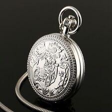 Hand-winding Mechanical Tourbillon Cage Design Pocket Watch Silver Case Mens