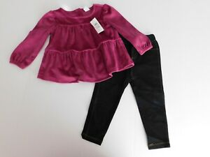 NWT Gap Baby Girls 2 Pc Orchid Velour Top/Knit Denim Leggings 18-24M MSRP$47